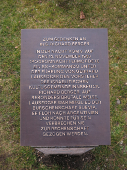Gedenkstele Richard Berger Text
